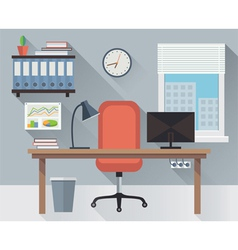 Interior office workplace vector