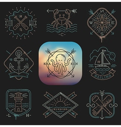 Line drawing nautical and adventures emblems vector