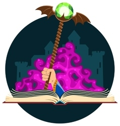 Fantasy book with magic staff vector