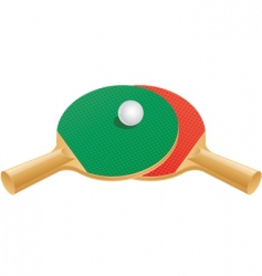 Table tennis paddles and ball vector