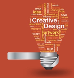 Light bulb with creative design concept word cloud vector