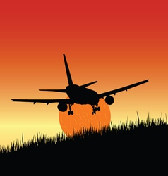 Plane and sunset art vector