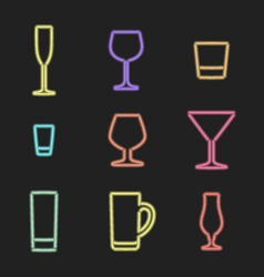 Neon light alcohol glasses icons vector
