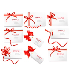 Collection of labels and cards with bow and vector