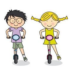 Boy and girl on scooter in the park vector