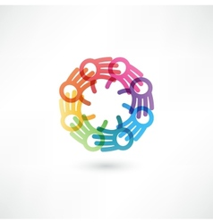Team symbol multicolored hands vector