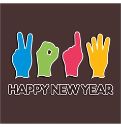 Creative new year2014 concept with finger vector