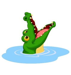 Crocodile cartoon open its mouth vector