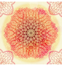 Hand drawn ethnic circular pink ornament vector