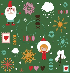 Seamless pattern with holiday characters vector