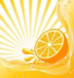 Orange background with a sun vector