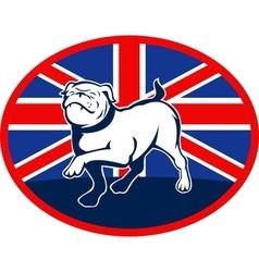 Proud english bulldog marching with british flag vector