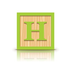 Letter h wooden alphabet block vector