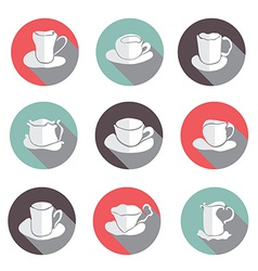 Coffe cups icons set vector