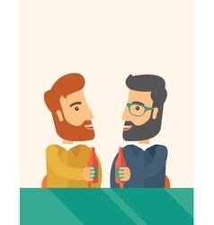 Two co- workers having fun drinking beer in a pub vector