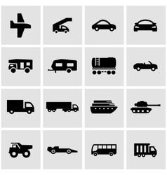 Black vehicles icon set vector