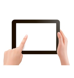 Hands holding digital tablet pc vector