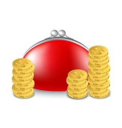Red purse and a stack of coins vector