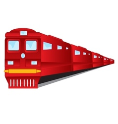 Train of the red colour on white background vector