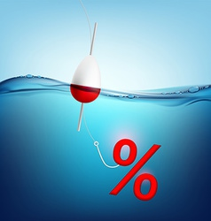 Percent sign hanging on a fishing hook vector