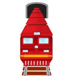 Red train drives out of subway vector