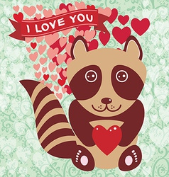 Cute raccoon with red heart valentines day card vector