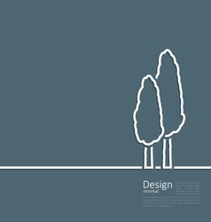 Logo of cypresses in minimal flat style line vector