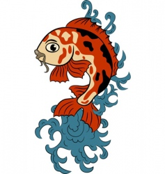 Hand drawn koi carp fish vector