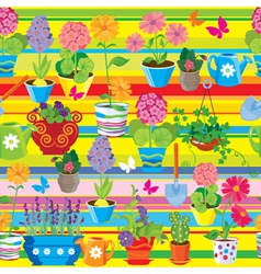 Seamless pattern with spring and summer flowers in vector