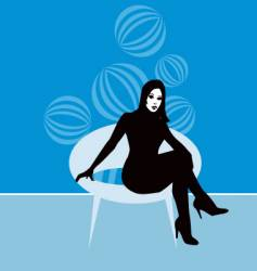 Lady on retro chair vector