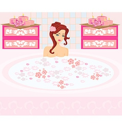 Woman bathing in bathtub in beautiful bathroom vector