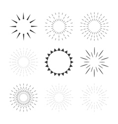 Set of sparkles and starbursts with rays design vector