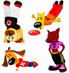 Sporty dogs vector