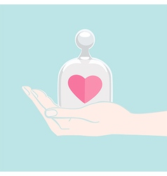 Hand offering a heart under a glass cover vector