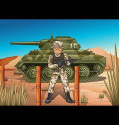 A soldier in front of the military tank vector