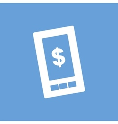 Dollar phone white icon vector