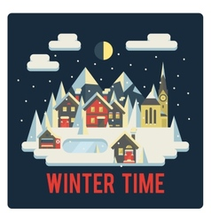 Town in mountains winter time night vector