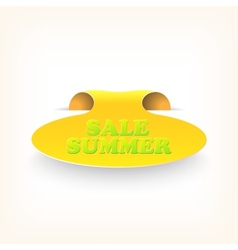 Realistic curved ribbon icon sale summer vector