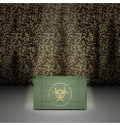 Army background with wooden box vector