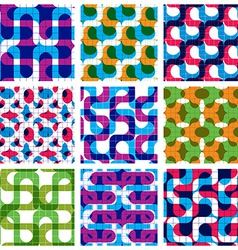 Set of multicolored grate seamless patterns with vector