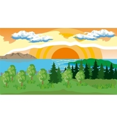 Landscape with trees lake and sun vector