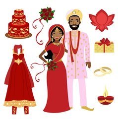 Indian wedding set vector