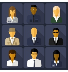 Business set of stylish avatars woman and man vector