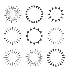 Set of sparkles and starbursts with rays vector