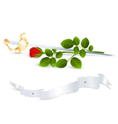Red rose and sword vector
