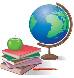Globe and books vector