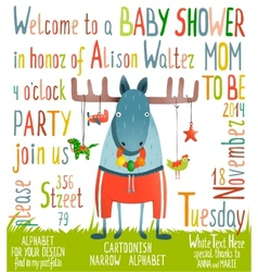 Baby shower invitation with animal vector
