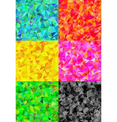 Set of six colorful abstract geometric background vector