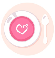 Delicate pink love fresh soup in circle vector