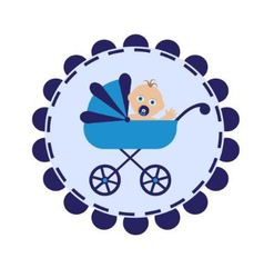 Stroller with baby vector